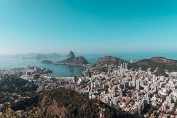 Vista aérea da cidade do Rio de Janeiro no Brasil